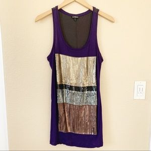 Express Racerback Tank Top with Sequins